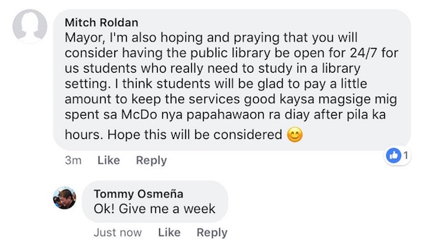 request of Mitch Roldan--from Mayor Osmeña FB